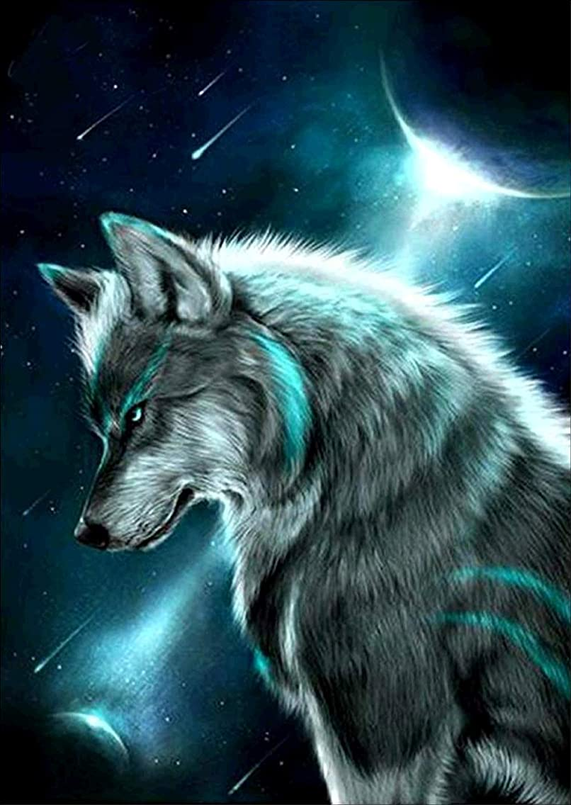 DIY 5D Diamond Painting by Number Kit, Wolf in The Moonlight Crystal Rhinestone Embroidery Cross Stitch Arts Craft Canvas Wall Decor 12x16 inches
