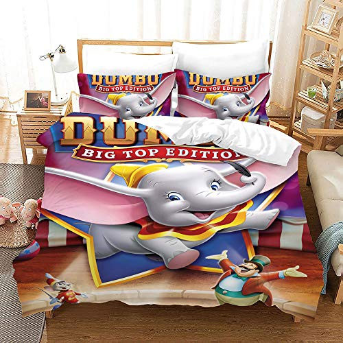 Wangxin Dumbo 3D Three-piece Bedding Set,Household Quilt Cover,With Duvet cover and Pillowcase,100% polyester microfibre(No Static) 05-200 * 200cm