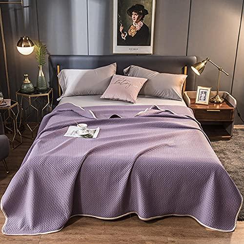 Colcha Ligera con Control, AB Superficie Ruffles Casa Acolchada Casa Cubierta Hoja Hogar Casa de Textiles No Incluir Funda de Pillow-púrpura_180x220cm