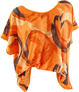 KLJR Womens Short Sleeve Tops Summer Print Loose O-Neck T-shirt Blouse