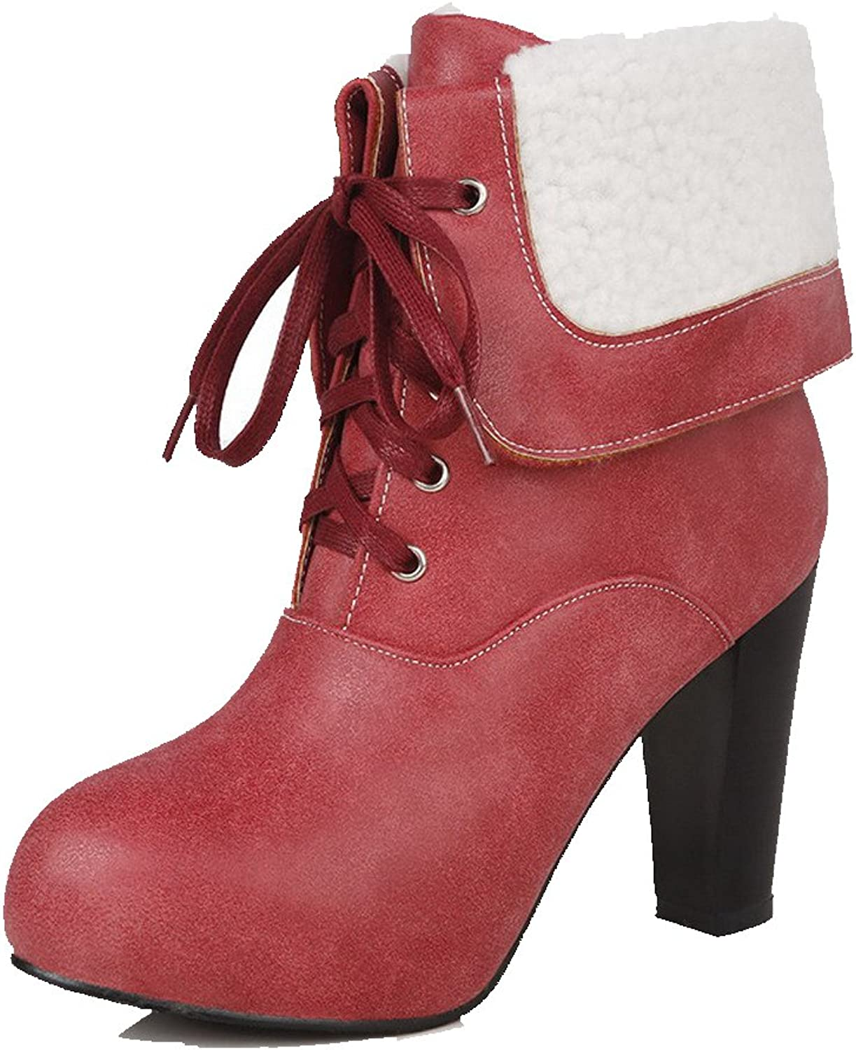 WeenFashion Women's Pu Solid Lace up Round Closed Toe High Heels Boots