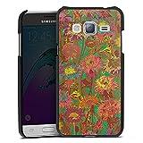 DeinDesign Cover kompatibel mit Samsung Galaxy J3 Duos 2016 Lederhülle schwarz Leder Hülle Leder Handyhülle Blumenwiese Blumen Flowers