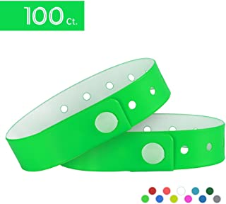 Ouchan Plastic Event Wristbands Neon Green- 100 Pack Vinyl Wristbands for Party