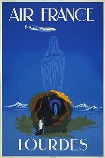 Gallery Prints AIR France Travel Print Lourdes Virgin Mary Art Poster - Measures 24