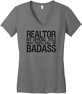 ThisWear Realtor Gifts Call Me Badass Realtor Clothing Juniors Vneck