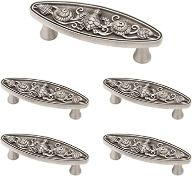Franklin Brass PBF663-BSP-C1 Seaside Cottage Oval Kitchen Cabinet Hardware Drawer Handle Pull, 5 Pack, Brushed Satin Pewter