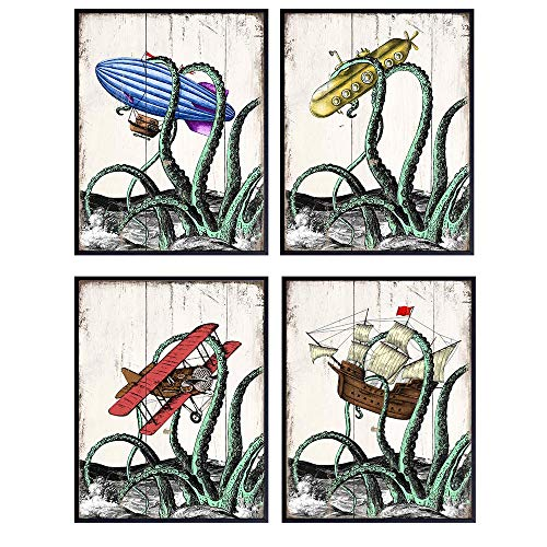 Octopus Decor Sign Photos - Cute Kraken Nautical Bathroom Wall Art for Beach House or Boys Room Decoration - Funny Vintage Ocean Themed Gift for Steampunk Fans - Rustic Poster Print Set - Unframed