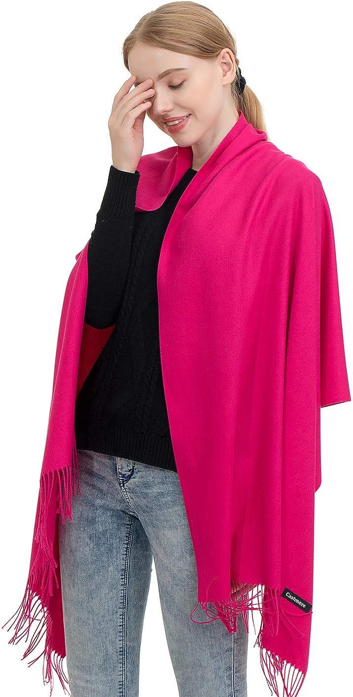 JAKY-Global Pashmina Schal oder Überwurf Kaschmir-schal für Damen Herren super weich warm, 198 cm x 68 cm als Männerschal oder Damenschal Rose