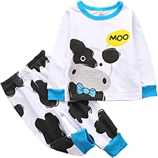 2Piece Toddler Kids Baby Boys and Girls Pajamas Set,Long Sleeve Print Top T-Shirt Trousers Pants Sleepwear