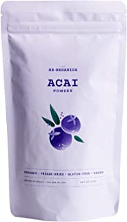 SB Organics Premium Acai Powder - USDA Organic, Non-GMO, Freeze-Dried Berries - Antioxidants, Fiber, Vitamins, and Minerals - 8 oz.