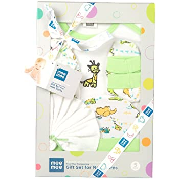 Mee Mee's Pampering Gift Set for New Borns (5 pcs - Print II, Green)