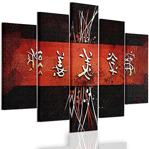 Feeby Frames, Cuadro en lienzo - 5 partes - Cuadro impresión, Cuadro decoración, Canvas Tipo A, 70x100 cm, CARACTERES JAPONESES, CIRCULOS, ABSTRACCIÓN, BLANCO, NEGRO, ROJO