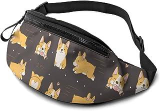Dujiea Fanny Pack, Kawaii Corgi Cute Dog Waist Bag with Headphone Hole Belt Bag Adjustable Sling Pocket Fashion Hip Bum Ba...