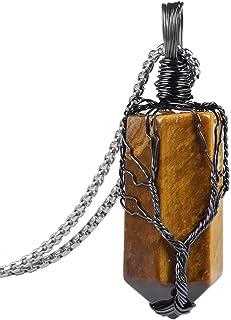 Nupuyai اليدوية شجرة الحياة قلادة للنساء الرجال، سلك ملفوف سداسي نقطة كريستال ريكي حجر مجوهرات