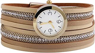 Jenia Women's Leather Watch Wrap Around Bracelets Casual Quartz Wrist Watch Magnetic Clasp Leather Bracelet Gold Plated Watches for Wife, Ladies, Mother, Girls Gifts
