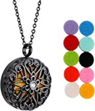 Maromalife Diffuser Necklace, Aromatherapy Pendant Essential Oil Necklace Round Pendant Locket Stainless Steel Plating 3D Surface Necklace with 10 Felt Pads