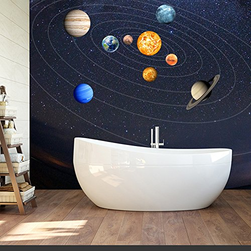 cheerfulus Glow in The Dark Planet Pegatinas de Pared 9 Planets Sistema Solar extraíble Tatuajes de Pared Luminous Wall Sticker Arte Decoración de Pared para niños Dormitorio Sala de Estar