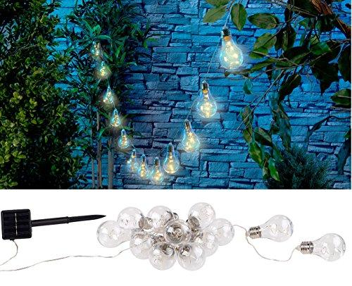 Lunartec Solar Lichterkette Retro: Solar-LED-Lichterkette im Glühbirnen-Look, 12 Birnen, warmweiß, 8,5 m (Solar Lichterkette Outdoor)