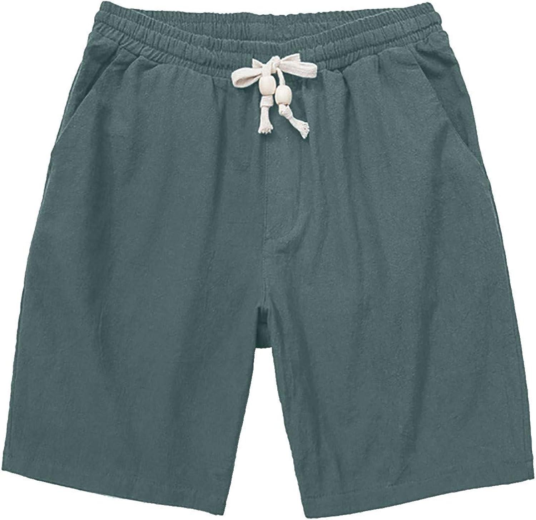 ZCAITIANYA Men's Linen Shorts Beach Pants Summer Casual Relaxing Slim Fit Workout Elastic Jogging Pants Drawstring Pockets