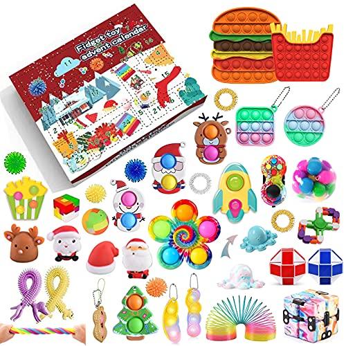 Fidget Adventskalender 2021 Weihnachten Countdown Kalender 24 Tage Günstige sensorische Fidget Toys Set Dekorationen Geschenk-Boxen für Kinder Erwachsene Stress Relief und Angst (A9,...