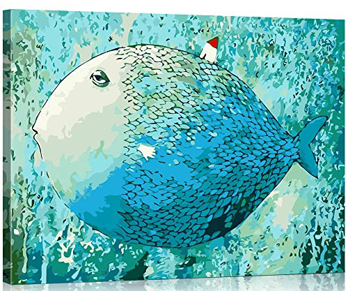 WONZOM Pintura por Números para Adultos, DIY Pintar por Numeros Kits sobre Lienzo para Estudiantes Principiantes Niños 16 * 20 Pulgadas - Pez con Marco de Madera