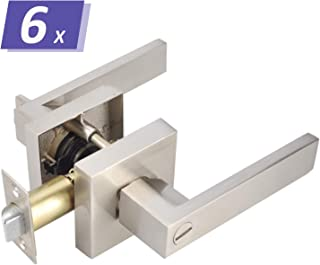 Commercial/Residential Satin Nickel Privacy Door Handles Locks for Bathroom Bedroom Use-6 Pack, Locked Inside with Turn-Thumb, Keyless Privacy Funtion, Sleek Appearance