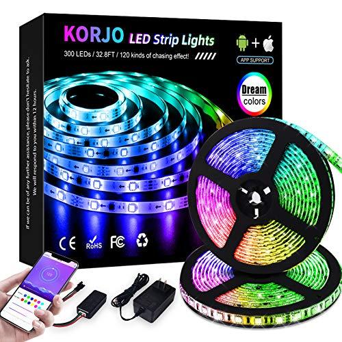 KORJO Dream Color LED Strip Lights, 32.8ft/10M Bluetooth LED Chasing Light with APP, 12V 300 LEDs 5050 RGB Color Changing Rope Light Kit, Flexible Led Strip Lighting for Home Kitchen
