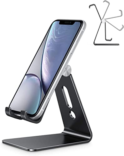 Adjustable Cell Phone Stand, OMOTON C2 Aluminum Desktop Phone Holder Dock Compatible with iPhone 11 Pro, SE, XR, 8 Pl...