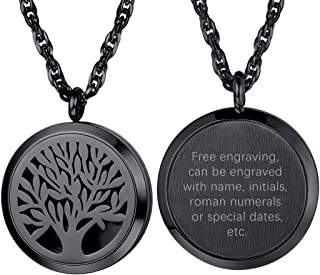 Perfume Locket Necklace, Diffuser Essential Oil Necklace, 316L Stainless Steel Aromatherapy Locket Anxiety Relief Necklace,Men Women Personalized Custom Necklace, Come Sponges & Gift Box