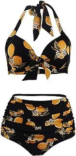 Goldt1 水着は女性のための黄色の花の水着ホルターネック花ハイウエストツーピースセクシービキニ用女性のための隠し紐でローカットとプリント