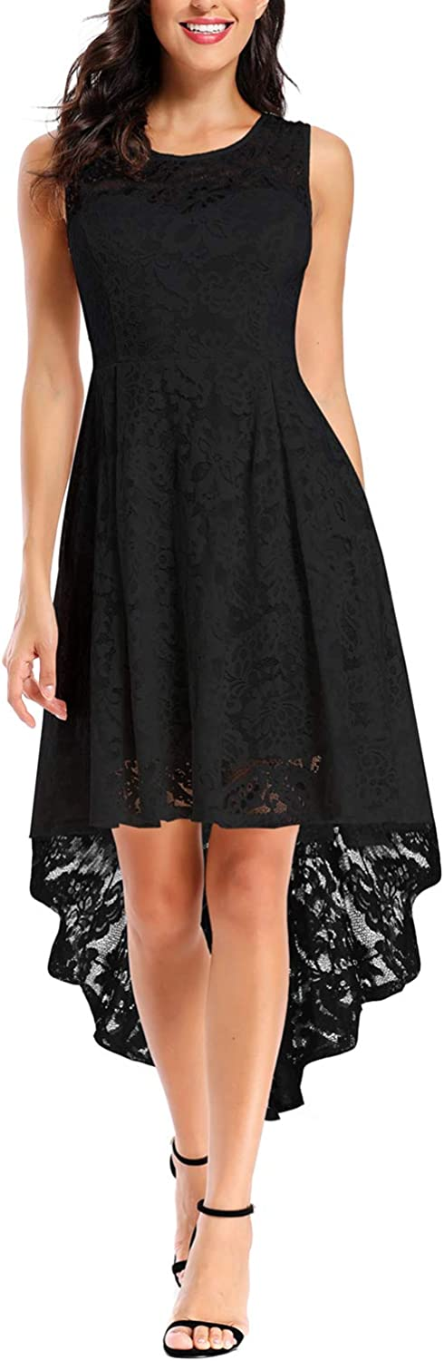 Women's Elegant Round Neck Knee Length High Low Cocktail Lace Dress