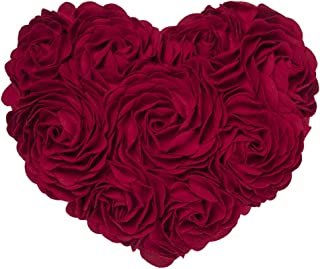 JWH 3D Handmade Rose Flowers Accent Pillow Decorative Wool Heart Shape Cushion Home Couch Bed Living Room Office Chair Car Decor Travel Lover Girl Gift 13 x 16 Inch Red