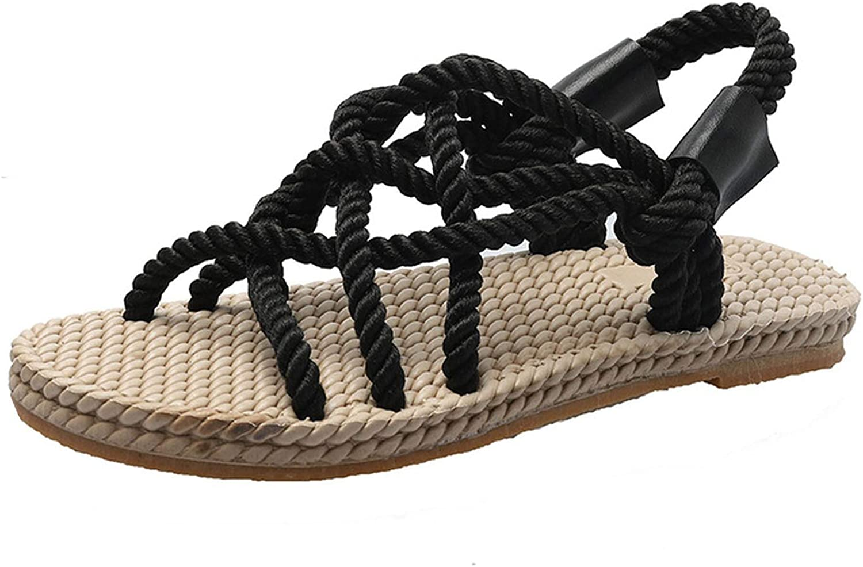 Women Sandals Cross-Tied Platform Sandals Comfortable Vintage Rope Beach shoes,Black,7.5