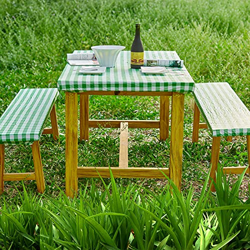 wagude Rectangle Tablecloth Picnic Table Cover - Plastic Checkered Outdoor Tablecloth, Durable Waterproof Fitted Tablecloth with Bench Covers, Elastic Table Cover for Party, Outdoor, Camping (Green)