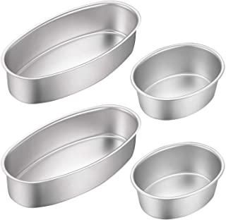 4 Pieces Oval Cheesecake Pan 4 Inch and 8 Inch Non-stick Cake Pan Aluminum Cake Mold Bread Loaf Pan Mold Meatloaf Breads M...