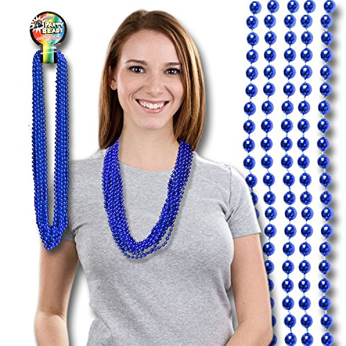 Blue Mardi Gras Beads 33' Inches - 12 Pack