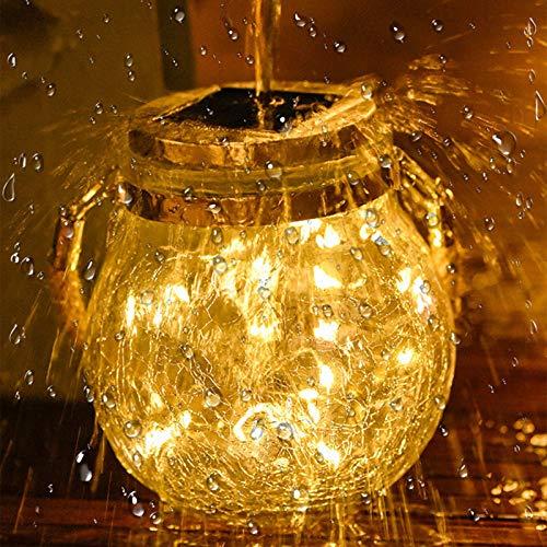 SJHP Lámparas Solares Exterior, LED Cadena de Bola Cristal Luz Luz de Bola de Grieta Diseño Individual para Decoración Jardín Fiesta Balcón Navidad Vacaciones Bodas