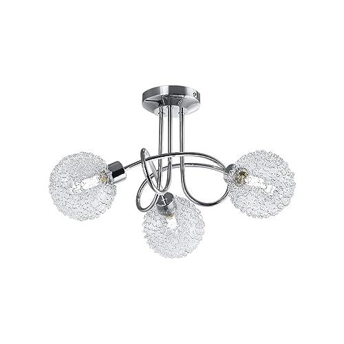 B.K. Licht plafonnier LED, 3 spots, globes en cristal, luminaire design moderne, éclairage plafond, blanc chaud, lampe salon cuisine couloir chambre, 230V, G9, IP20, 3x3,5W
