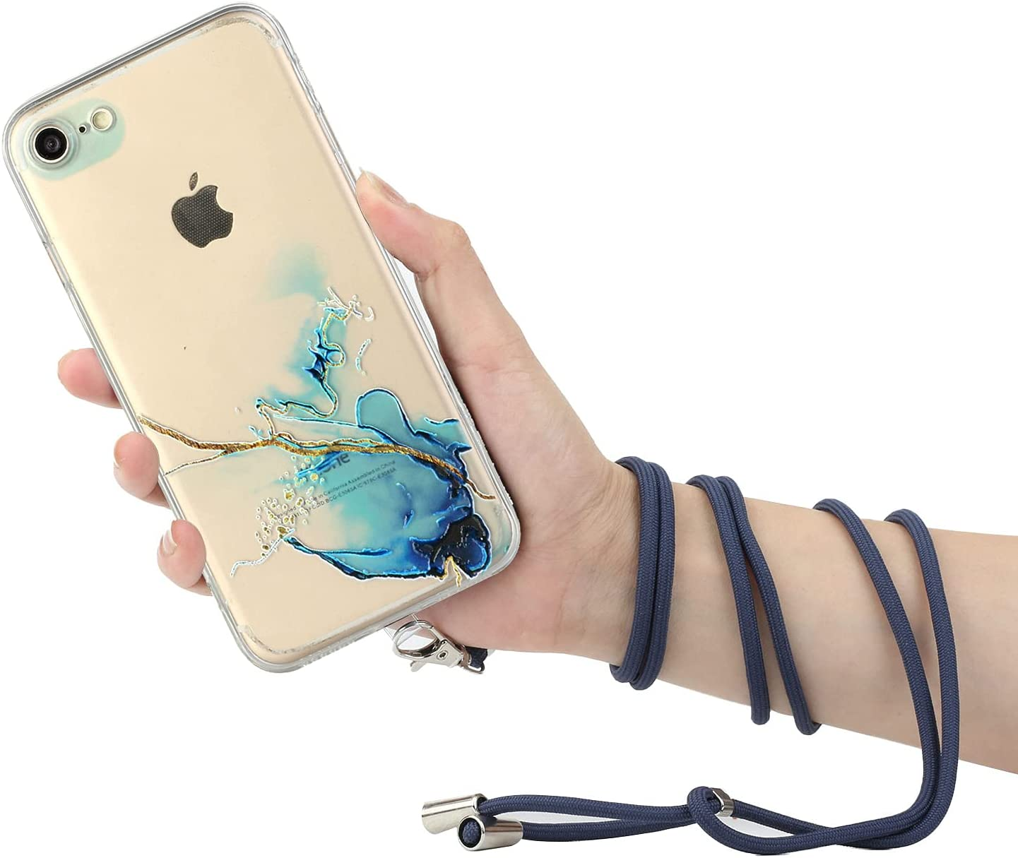 iPhone 7 Lanyard Case iPhone 8 Crossbody Case, KASOS Marble Design Flexible Clear Cover with Neck Cord Strap Transparent Silicone Adjustable Necklace Rope Case for iPhone SE2 (Blue)