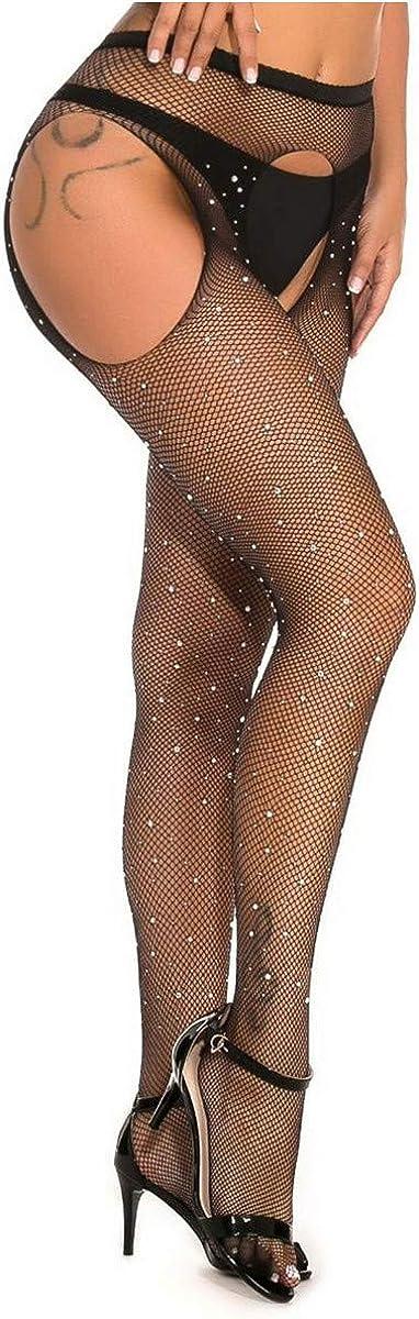 MengPa Fishnet Stockings Rhinestone High Waist Sparkly Tights for Women