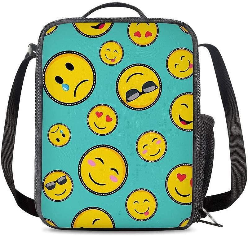 PrelerDIY Emoji Lunch Box Food Bag Picnic Pouch Insulated Lunch Bag For Teenage Boys Girls School Beach