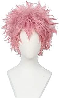 Linfairy Short Curly Cosplay Wig Halloween Costume Hero Pink Wig