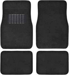 BDK Classic Carpet Floor Mats for Car & Auto - Universal Fit -Front & Rear with Heelpad (Black) - 45142