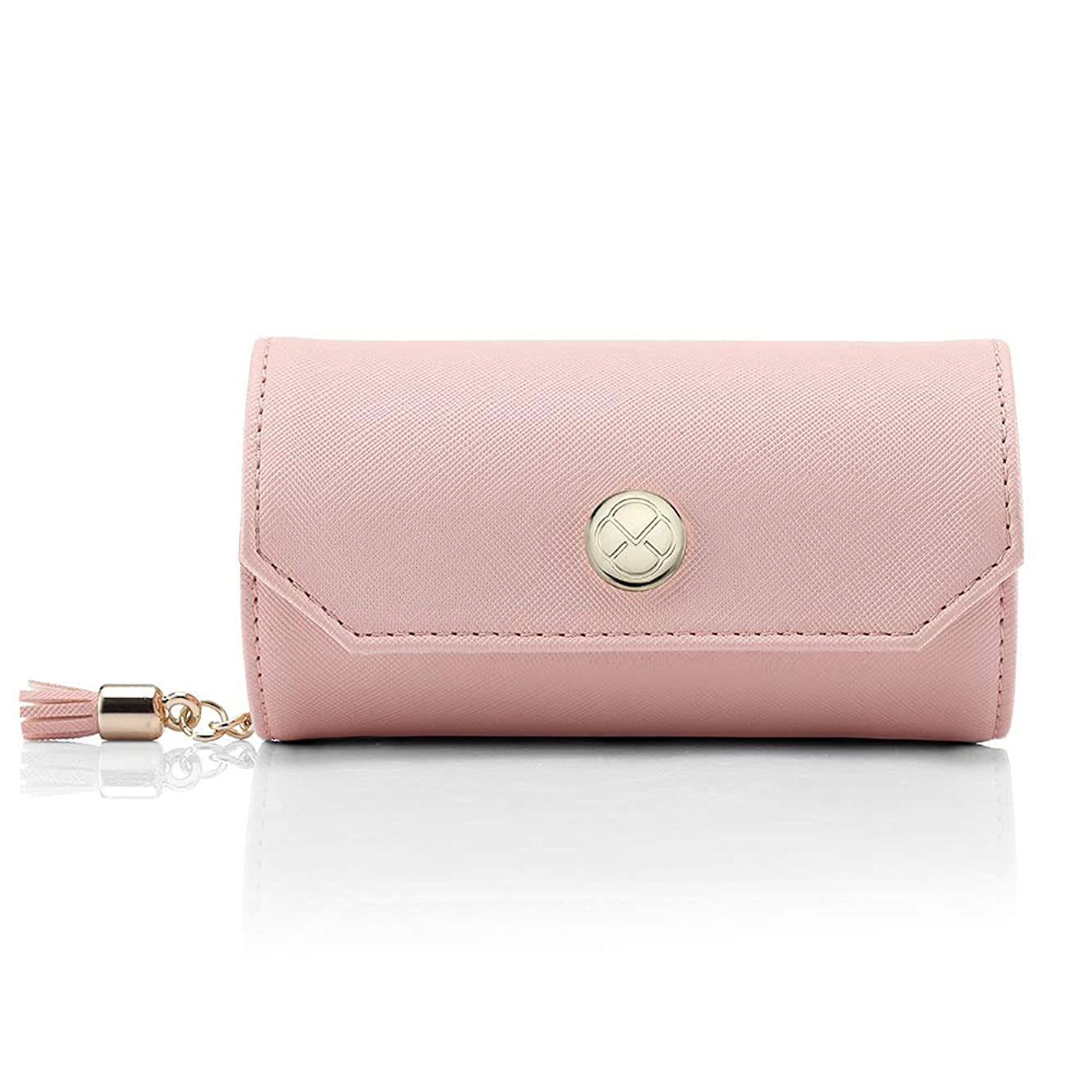 ブラウズ粘液毎月Vlando アクセサリーバッグ小柄携帯旅行外出のイヤリング ネックレス 腕時計 化粧品 お釣り収納バッグ-新ピンク