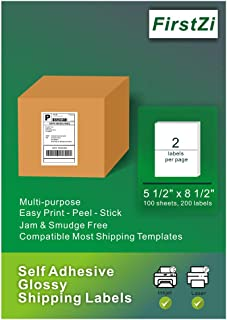 FirstZi 200 Count Half Sheet Self Adhesive Glossy Shipping Address Labels for Laser and Inkjet Printers, 5.5x8.5 Inches, 2 labels per Page, Waterproof, Durable,100 Sheets 1 Box