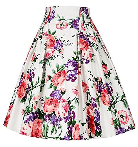 PAUL JONES Womens Vintage Skirts 50s 60s Floral Vintage Short Skirts C-7(S)