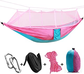 TOOGOO Portable High Strength Parachute Fabric Camping Hammock Hanging Bed with Mosquito Net Sleeping Hammock Pink & Light Blue