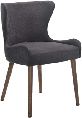 Benjara Upholstered Dining Chair with Wing Back Design, Set of 2, Gray and Brown