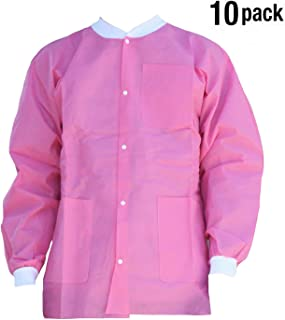 Premium Quality SMS Jacket for Medical Professionals, Made of SMS Soft Fabric 3 Layer, Lab Jacket Prevents Static, Latex Free, (10-pack) (Large, Pink)