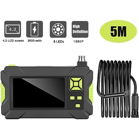 Kkmoon Endoskop Handheld Industrie Endoskopkamera 4 3 Zoll High Definition Inspektionskamera 1080p Bildschirm Ip67 Wasserdicht Mit 8 Led Licht Grün Starres Kabel Baumarkt